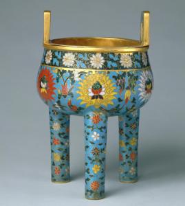 元代 · 掐丝珐琅缠枝莲纹鼎式炉(故宫博物院)