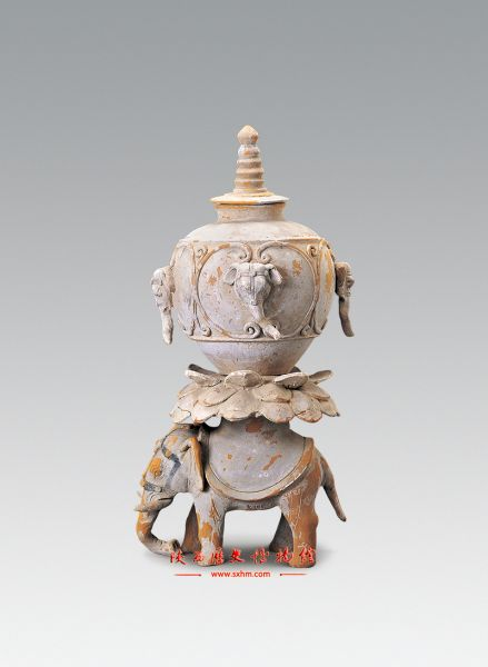 唐代· 彩绘象座塔式罐(陕西历史博物馆)