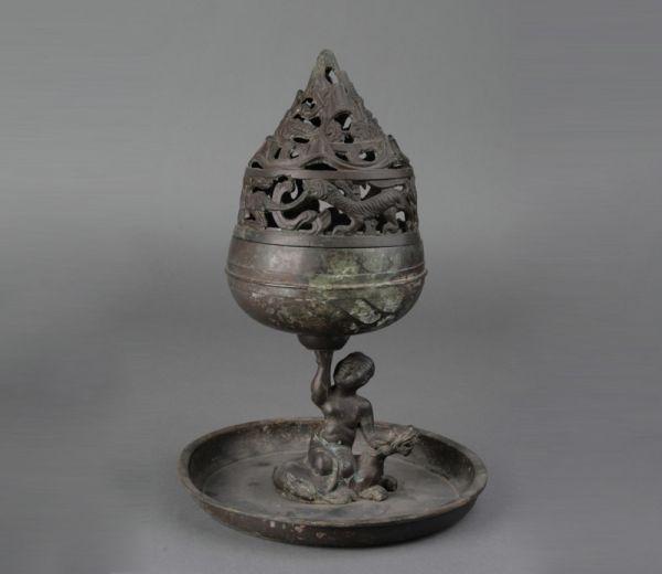 西汉 · 鎏银骑兽人物博山炉(河北博物院)