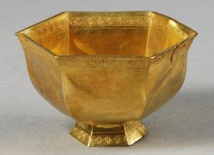 南宋 · 六角形金杯金盏(安徽博物院)