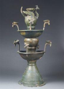 东汉 · 绿釉陶孔雀灯(陕西历史博物馆)