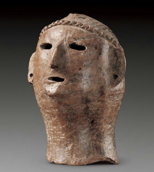 新石器时代 · 红陶人头像(甘肃省博物馆)