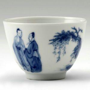 清代 ·  景德镇窑青花叱石成羊图杯(上海博物馆)