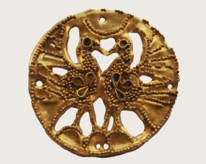 西晋 · 双凤纹圆形金饰(长沙博物馆)